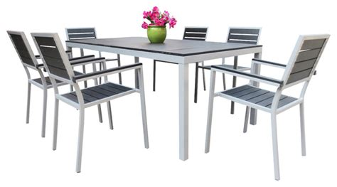 outdoor aluminum resin 7 square dining table and