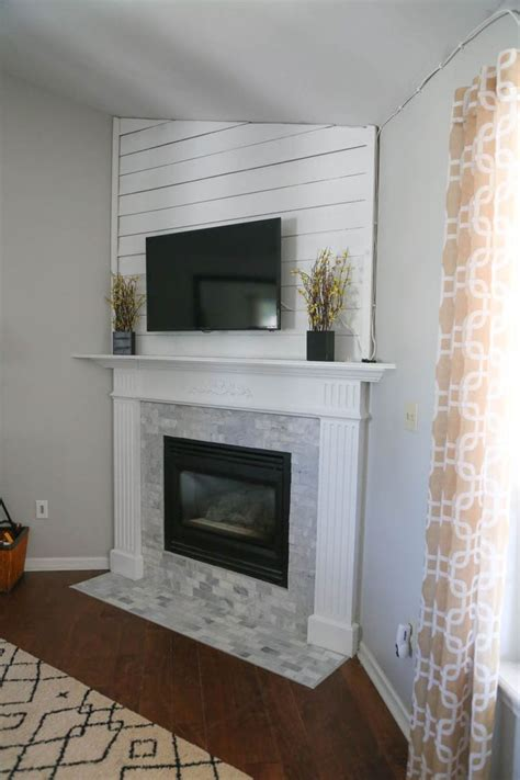 mantel makeover  basement remodeling brick fireplace