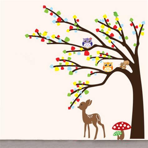 Tree Wallpaper Clipart by Animal Deer Owl Tree Diy Wall