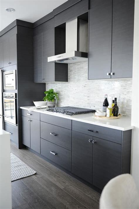kitchen backsplash ideas for gray cabinets gray flat front kitchen cabinets with gray mosaic