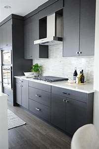 dark gray flat front kitchen cabinets with gray mosaic With kitchen cabinet trends 2018 combined with puerto rican wall art