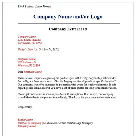 business letter format examples templates assistant