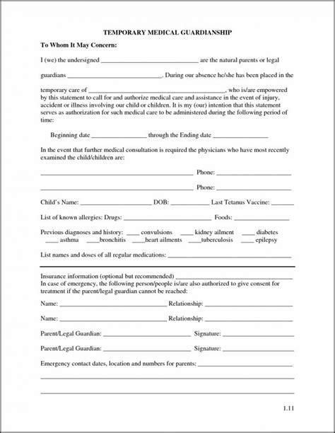 temporary guardianship form  grandparents