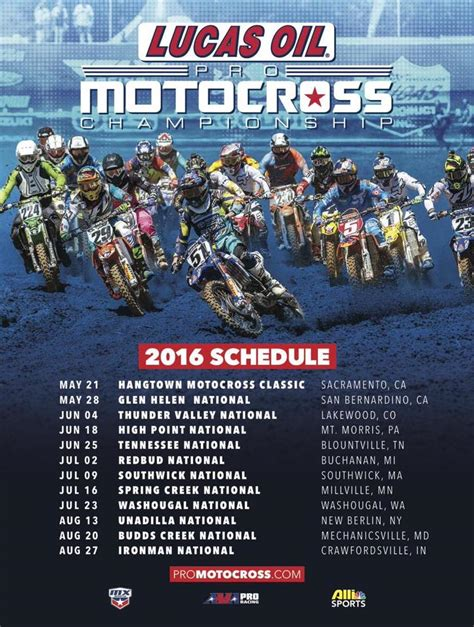2015 ama motocross schedule 2016 lucas oil pro motocross schedule direct motocross