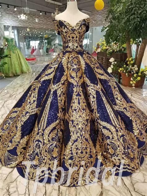 blue  gold prom dress ball gown quinceanera dress sale