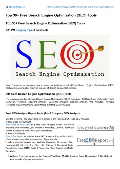 Top Search Engine Optimization by Top 30 Free Search Engine Optimization Tools