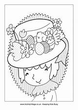 Easter Bonnet Colouring Coloring Activityvillage Happy Crafts sketch template