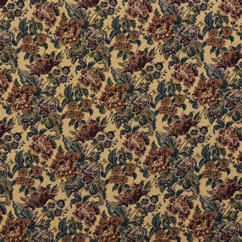 Tapestry Material Upholstery by F672 Beige Green Burgundy Vintage Floral Tapestry