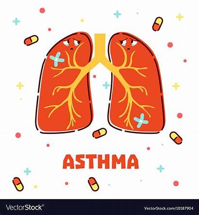 Asthma Lungs Cartoon Vector Background Awareness Concept