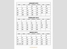 Free Download Printable Calendar 2019, 3 months per page