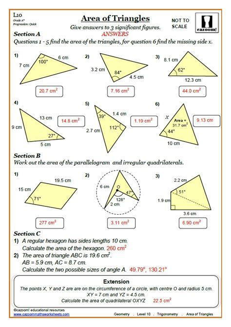 area of a triangle using sine worksheet breadandhearth