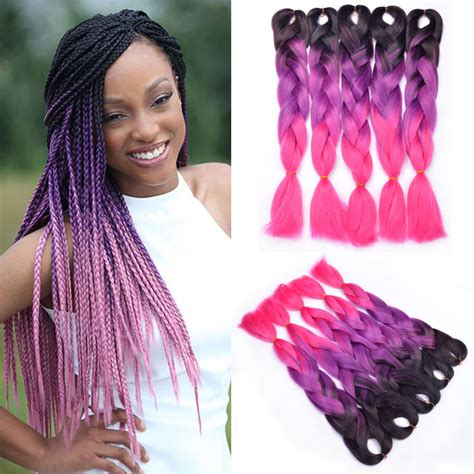5pcs 24 Purple Pink Kanekalon Jumbo Braids Synthetic