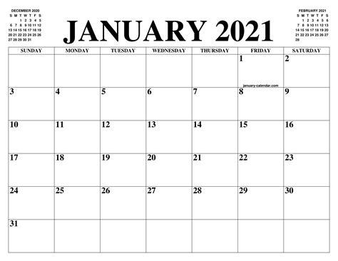 january  calendar   month  printable january