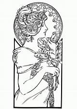 Coloring Nouveau Pages Adults Adult Drawing Deco Woman Mucha Femme Alphonse Colouring Justcolor Google Coloriage Adulte Drawn Drawings Getdrawings Printable sketch template