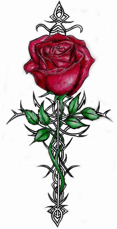 Tattoo Rose Drawings Deviantart Roses Cross Tattoos