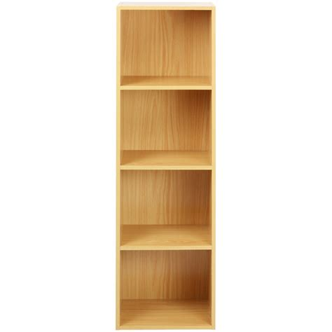 Wooden Bookcase by 4 Tier Wooden Shelf Beech Bookcase Shelving Storage
