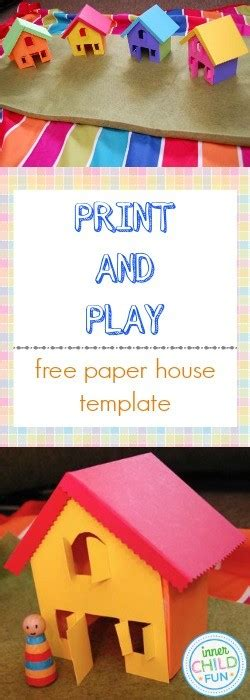 paper house template print  play  child fun