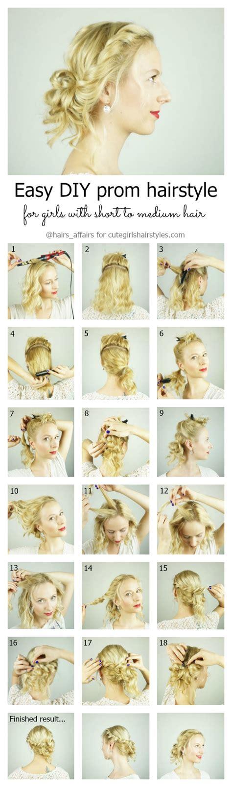 easy diy prom hairstyle  girls  short  medium