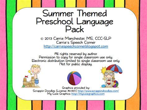 preschool summer themes carrie s speech corner summer themed preschool language pack 963