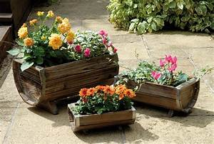 Decorative Wooden Trough Barrel Planters - Set of 3