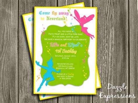 fairy  boy double party birthday invitation printable