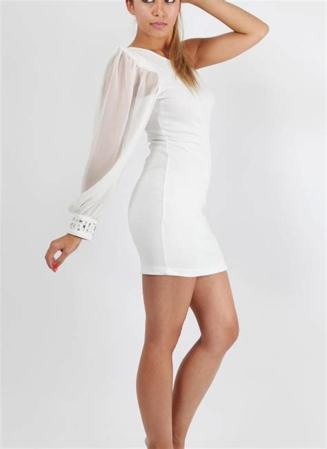 White One Shoulder Cocktail Party Dress Evening Dress