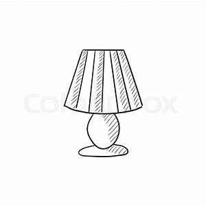Table lamp vector sketch icon isolated on background Hand