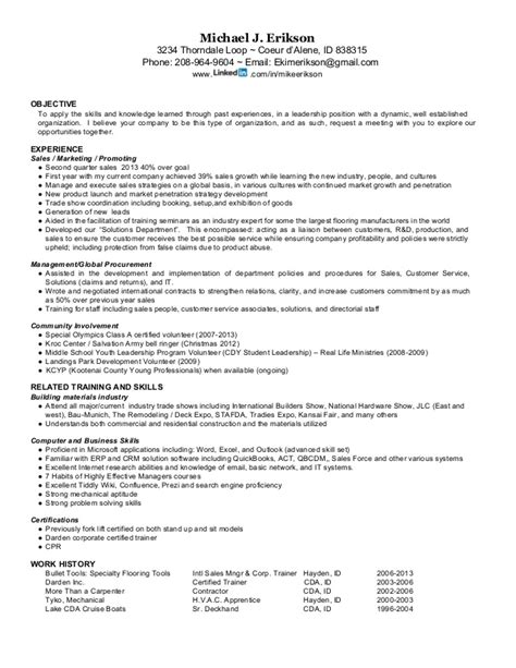 resume for mike j erikson international sales