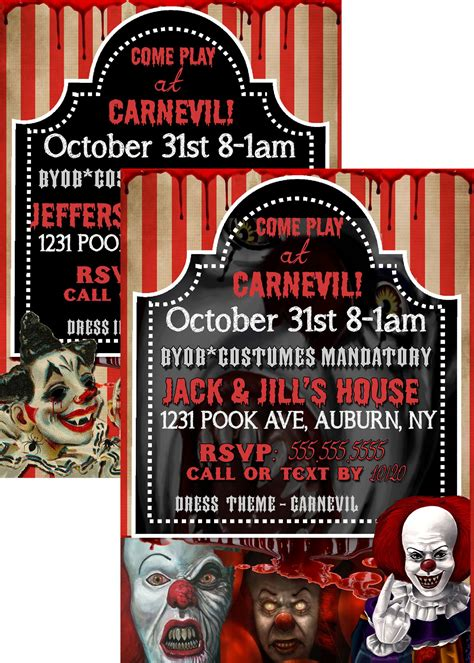 evil clown party invite pennywise halloween invitations