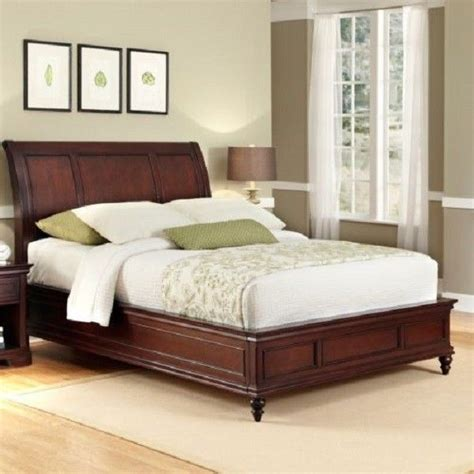 king size sleigh bed frame cherry wood bedroom furniture