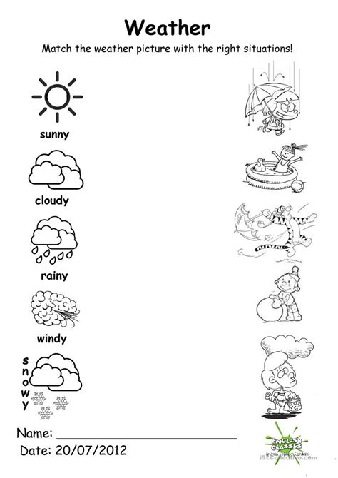 weather match worksheet free esl printable worksheets