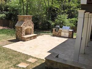 Outdoor Fireplace And Grill Deck Transitional With BBQ