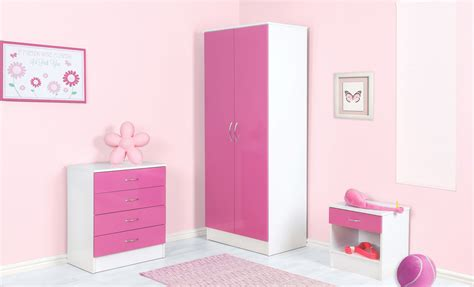 3 Piece White And High Gloss Pink Bedroom Set Blackpool