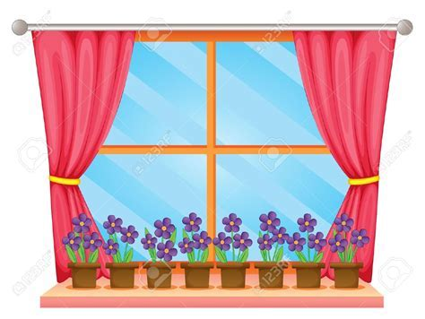 Curtain clipart classroom window   Pencil and in color