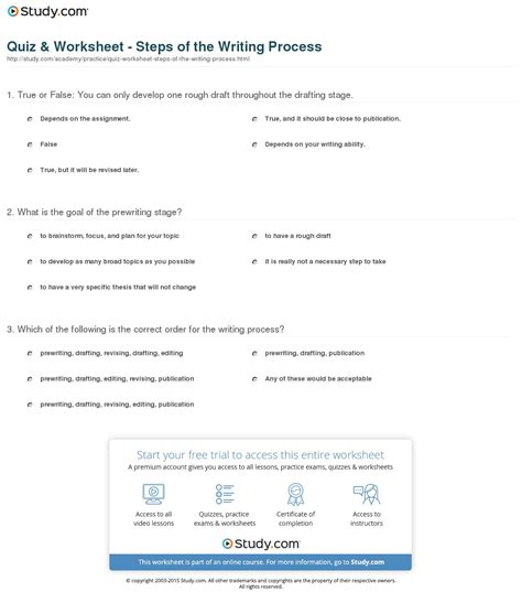 quiz worksheet steps of the writing process study com