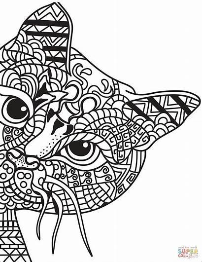 Zentangle Coloring Cat Colorear Printable Dibujos Gato