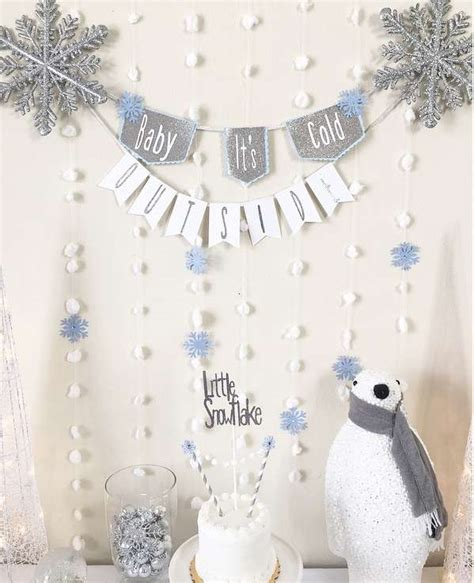 silver  white snowy baby shower baby shower ideas