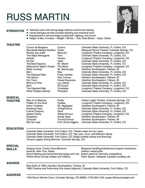 Actor Resumes Exles by Acting Resume Exle