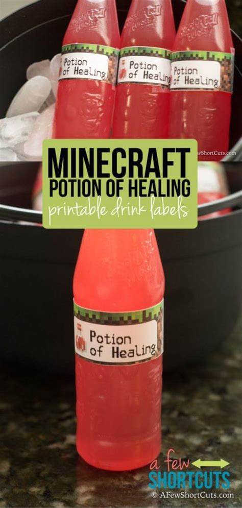 minecraft potion  healing drink labels printable