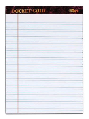 tops docket gold writing tablet 8 1 2 x 11 3 4 inches