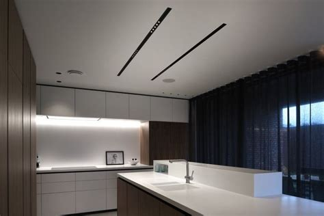 corian kitchen lit  kreon recessed led double focus linear nuit profiles residential