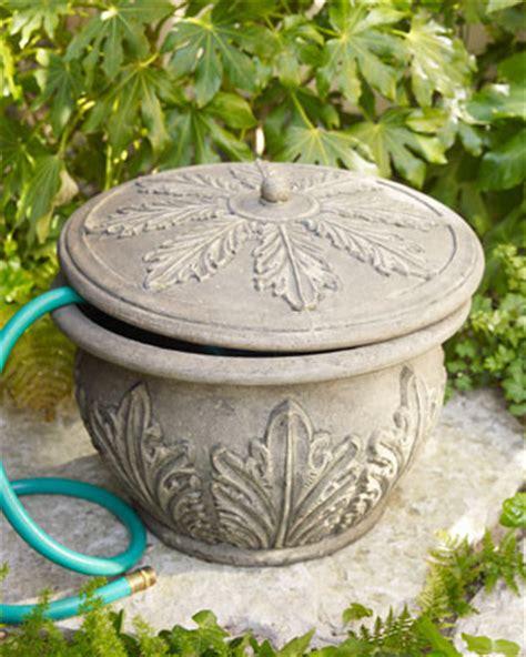 Decorative Garden Hose Pots - acanthus leaf hose holder traditional watering and