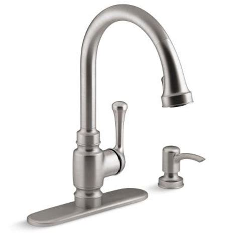 kohler carmichael single handle pull down sprayer kitchen
