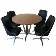 Vintage Chromcraft Dining Set Dinette Round Table Swivel