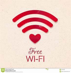 Ícone Vermelho De Wi Fi Com Forma Do Coração Como O Acesso Do Ponto Conne Livre Do Wifi