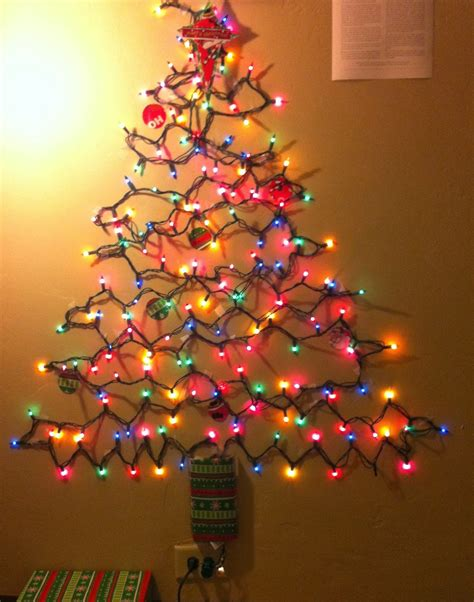 christmas lights in the shape of a tree on a budget alternative tree ideas