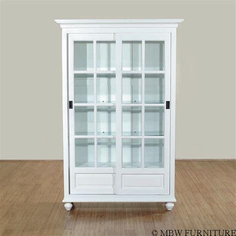 white curio cabinet solid wood white finish sliding glass curio hutch china