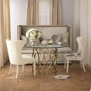 Furniture cream upholstered bench with tufted back using for Dining room furniture with bench