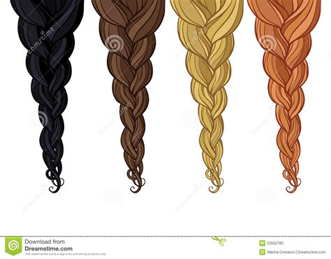 Pencil And In Color Hair Clipart Braid