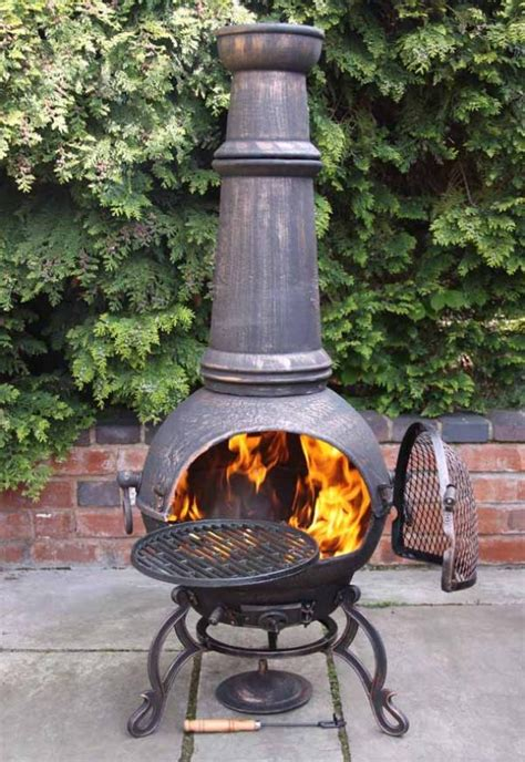 jumbo toledo bronze cast iron chiminea fireplace  bbq